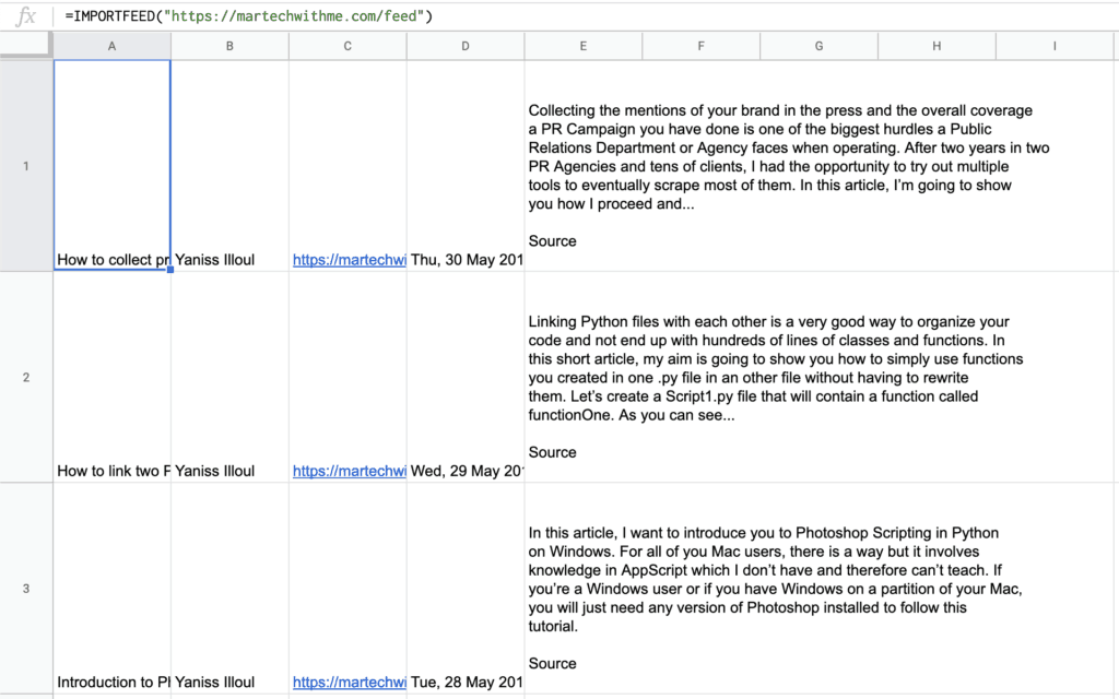 How to Import Data from a Website to Google Sheets